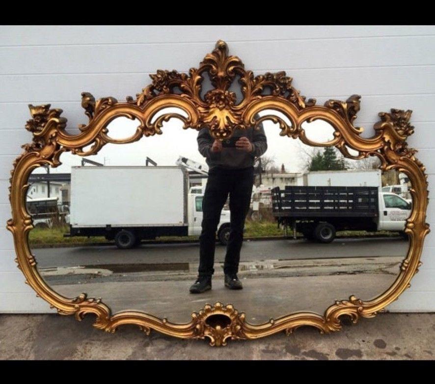 large ornate gold gilt mirror