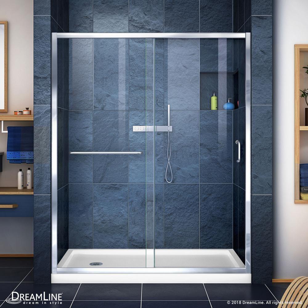 DreamLine Infinity-Z 32 in. x 60 in. Semi-Frameless Sliding Shower Door in Chrome with Center Drain White Acrylic Base #framelessslidingshowerdoors