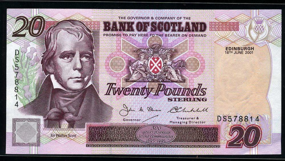 Bank Of Scotland Money 20 Pounds Scotland Money Money Bank