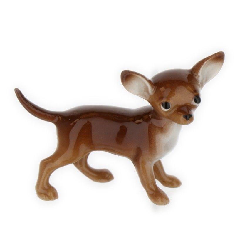Brown White Chihuahua Miniature Ceramic Figurine Made In Usa By Hagen Renaker Hagenrenaker Chihuahua White Chihuahua Ceramic Figurines