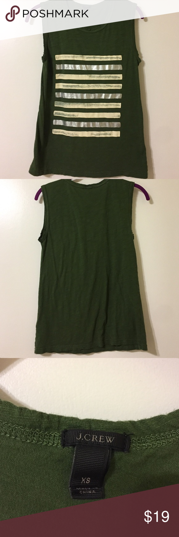 J CREW Muscle Tank - Green Green Muscle Tank with Silver and White stripes. Good as new! J. Crew Tops Muscle Tees