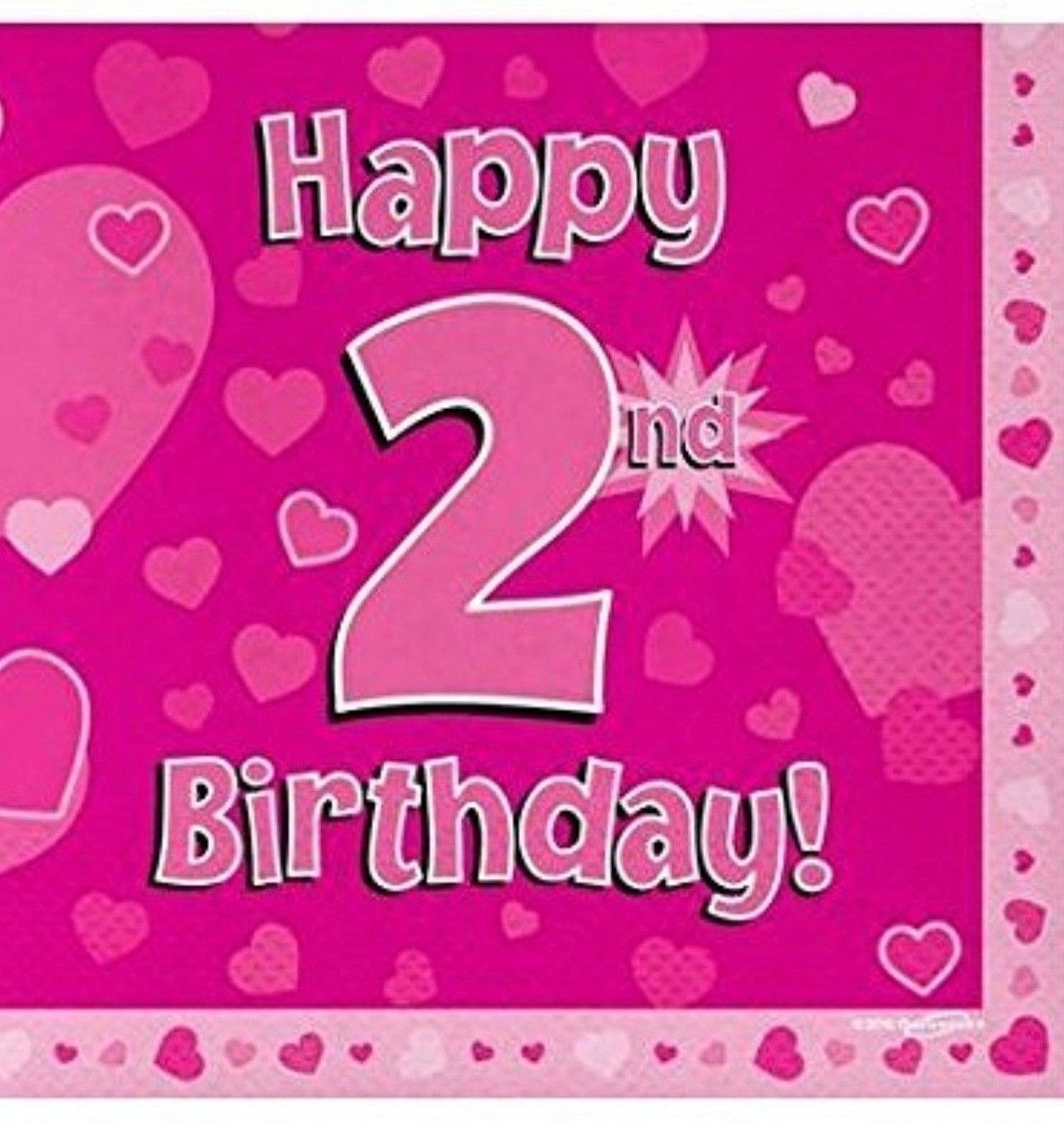 16 Pack Pink Girl 2 Today Happy 2nd Birthday Hearts Luncheon Paper