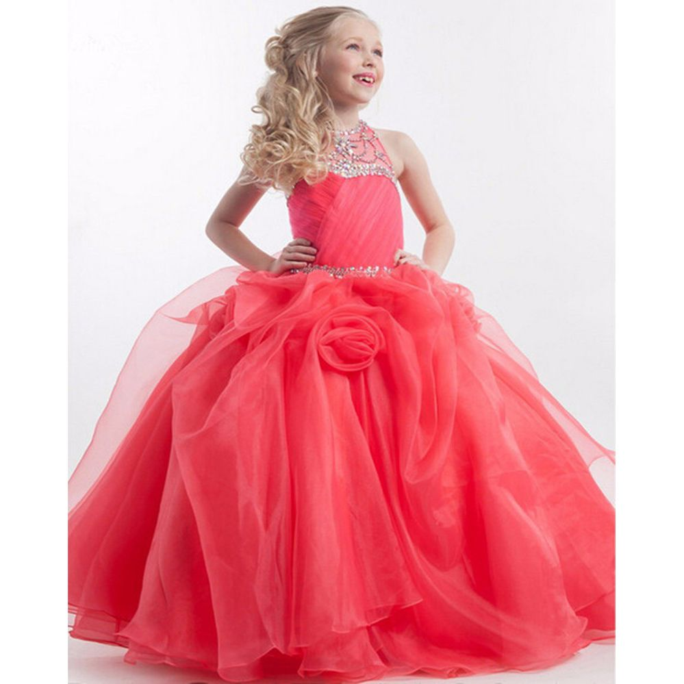 Watermelon Girls Pageant Gowns 2017 Ball Gown Beaded Crystals Halter ...