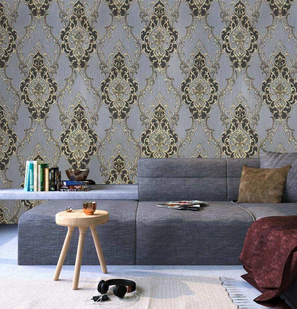 Wallpaper Roll Textured Victorian Vintage Damask Gray Black Etsy Textured Wallpaper Home Decor Wallpaper