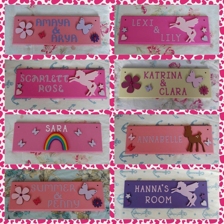 Teenage girls personalised bedroom door Name plaque Name ...