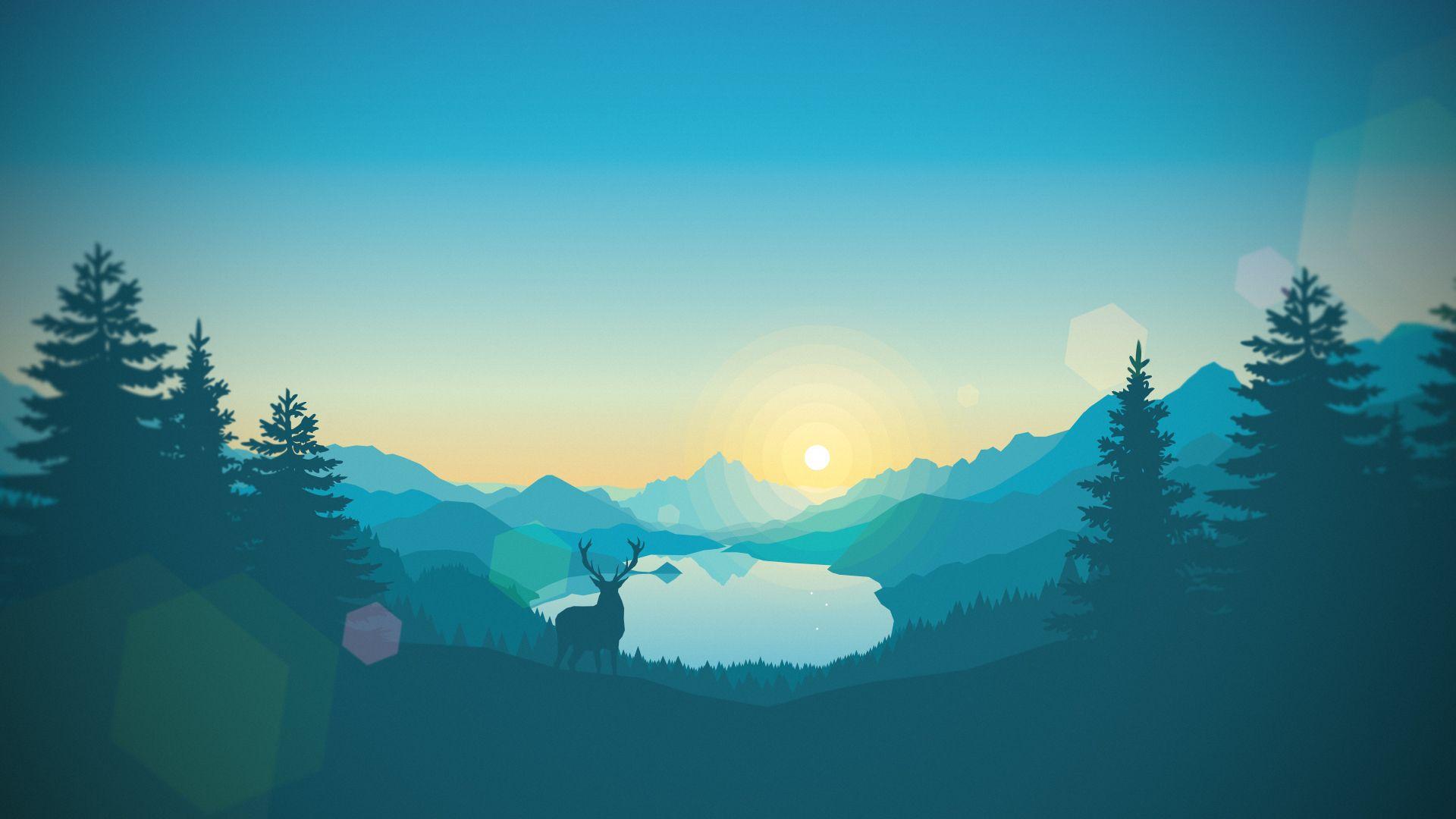 Lakeside Sunrise. [1920x1080] Landscape wallpaper