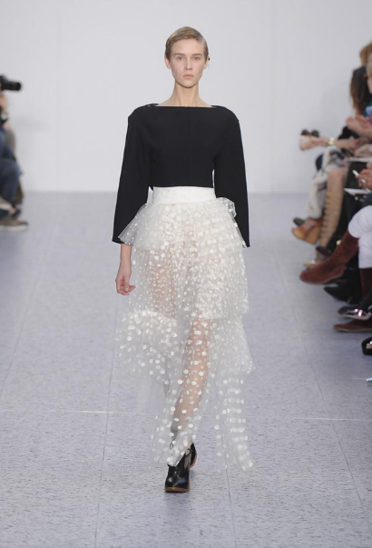 CHLOE | White pleated and patchwork plumentis skirt <3 <3 <3