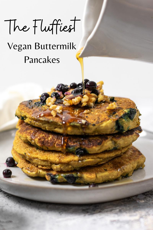 Vegan Buttermilk Pancakes Gluten Free Pancake Flax And Sugar Recipe In 2020 Buttermilk Pancakes Tasty Pancakes Gluten Free Recipes For Breakfast