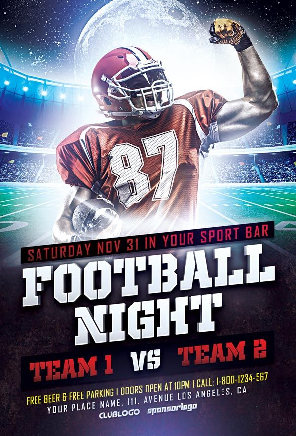 Free Football Sports Flyer Template  Design    Flyer