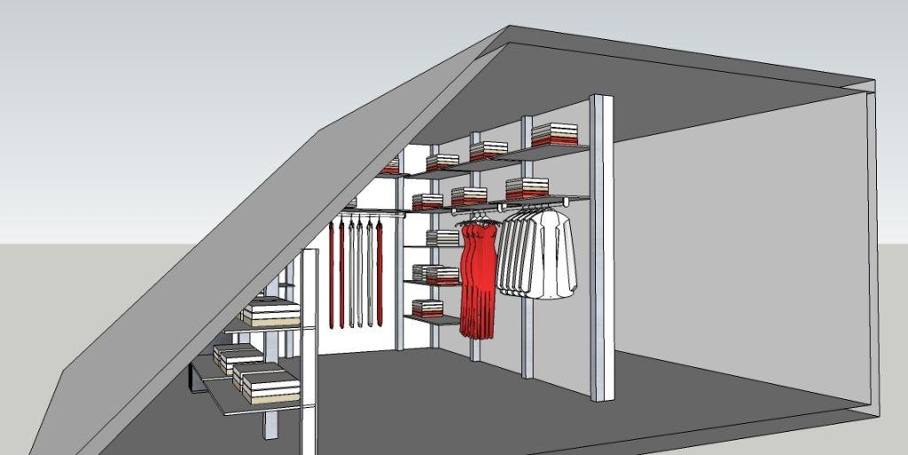 Inloopkast ontwerpen onder schuin dak rodov statek for Inloopkast ontwerpen
