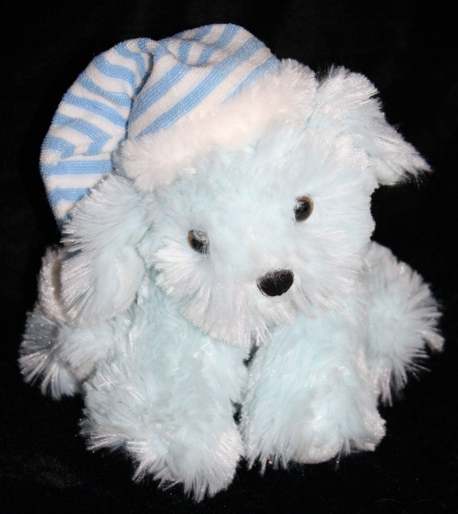 f36f1d1e6e0f Dan Dee darling little puppy Dog. It's Soft Blue Striped Pj Night Cap makes  it so cute. Plush is very soft and a nice Stuffed Animal Toy for boys and  girls ...