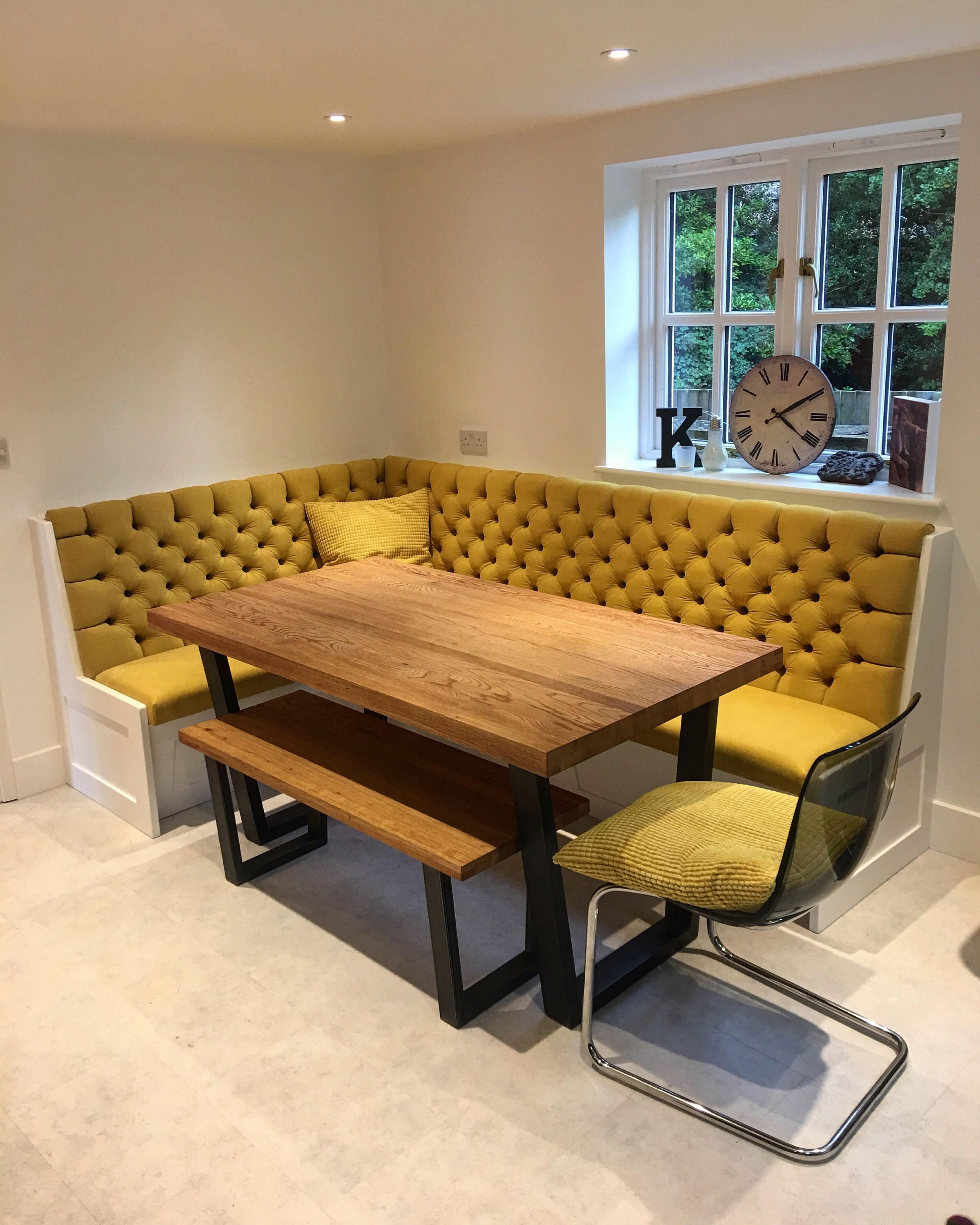 Bespoke banquette seating deep buttoned undercover storage by