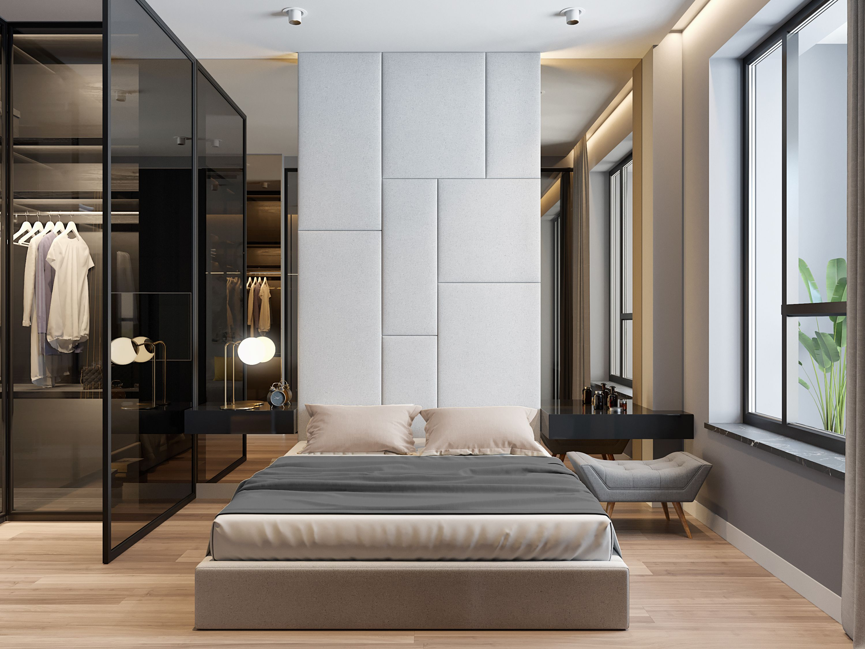 Boutique Lux Minimalism Glass Open Concept Wardrobe And Mirrors Apartment Design Modern