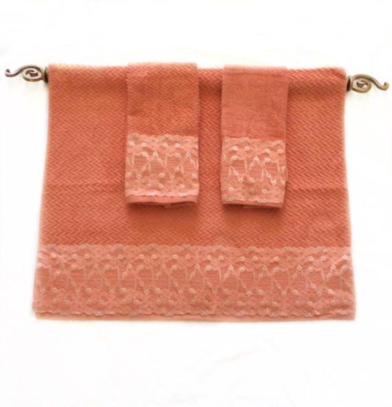 Bright Coral Towel Set Of 3 Decorative Bath Towels Etsy Coral Towel Red Towels Towel Set