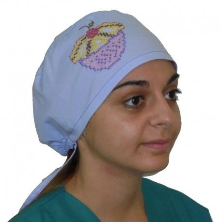 Handmade scrub hat with the sweetest embroidery design. Unique and cute  scrub with warm colors
