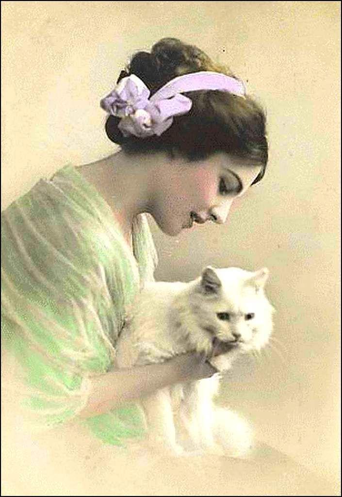 vintage romantique femme кошки Vendanges, Chat