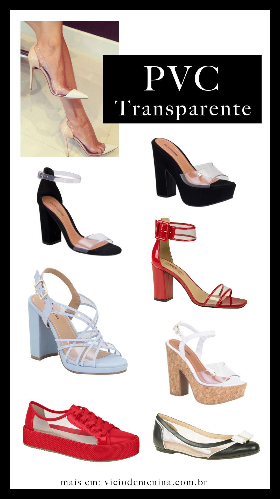219c3fff8 Sapatos 👠 2019 #pvc #transparente Sandalias Verao, Tendências Primavera  Verão, Moda Feminina