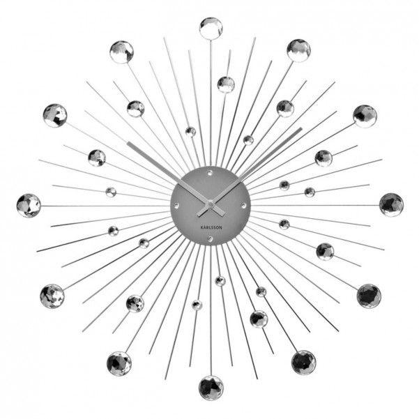 Wanduhr Sunburst Kristall Gross Uhr Crystal Silber Design Karlsson