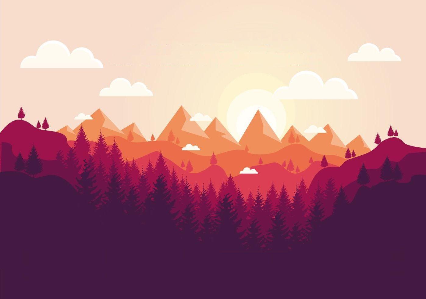 Landscape Sunset Vector Art Art Wallpaper