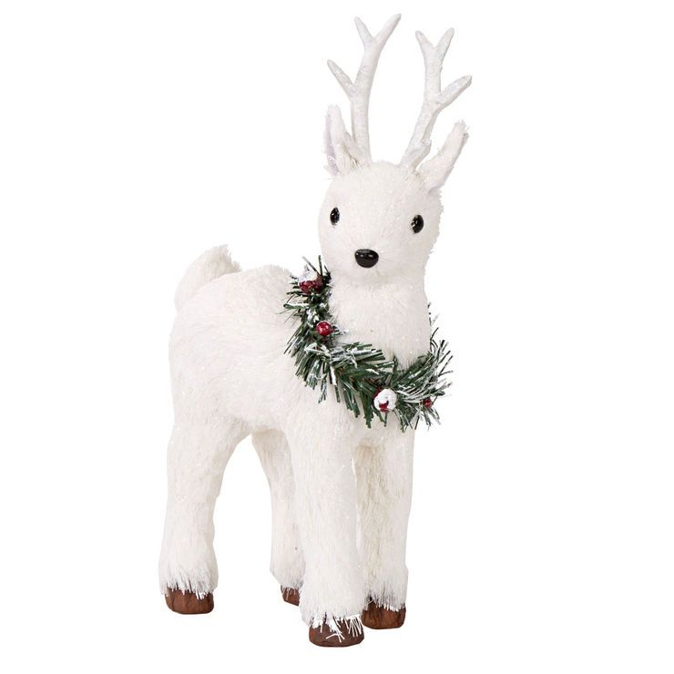 20 Magnolia Christmas Decor Ideas To Try: 10-in Standing Reindeer With Wreath
