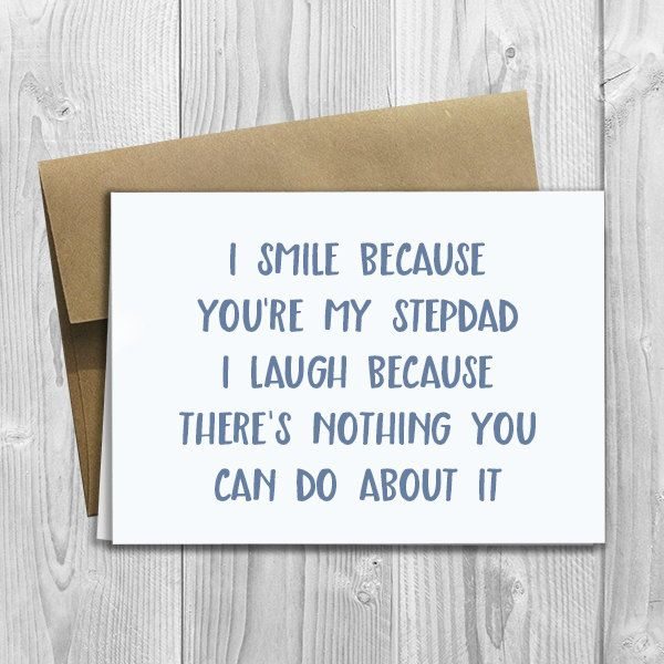PRINTED I Smile Because Youre My Stepdad 5x7 Greeting Card – Step Dad Birthday Cards