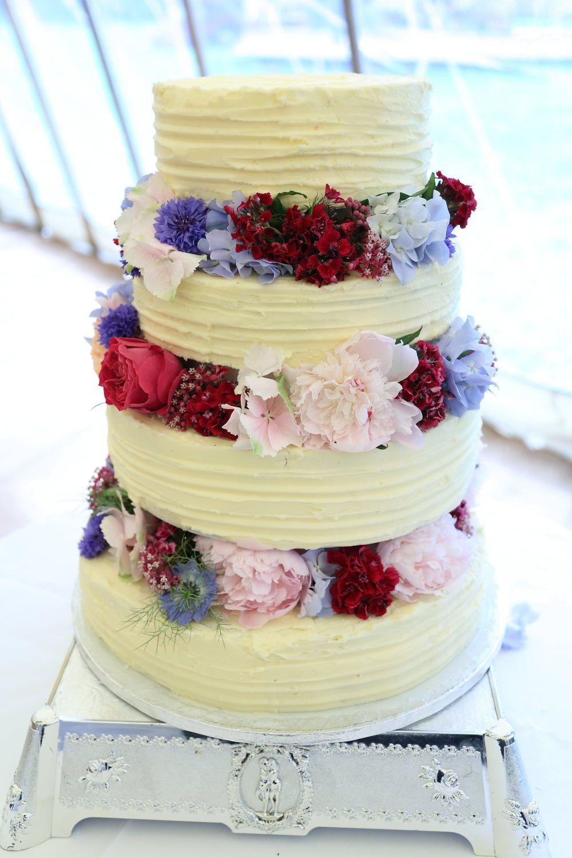 bury st edmunds farm wedding cake, simple cake with stunning flowers ...