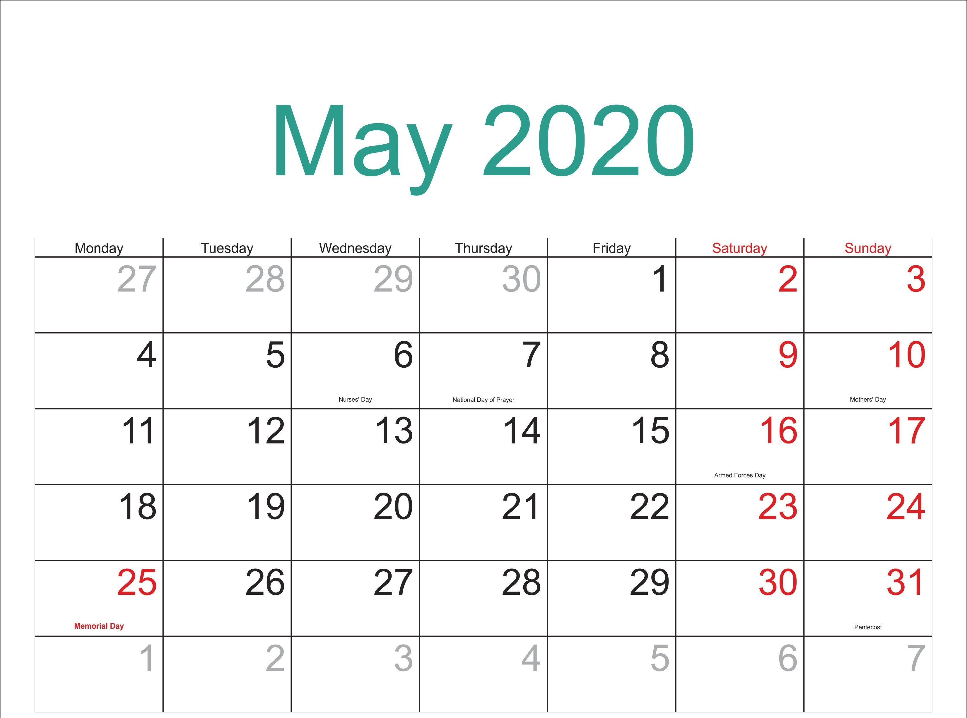 May Calendar 2020 Monthly Printable Template Calendar March