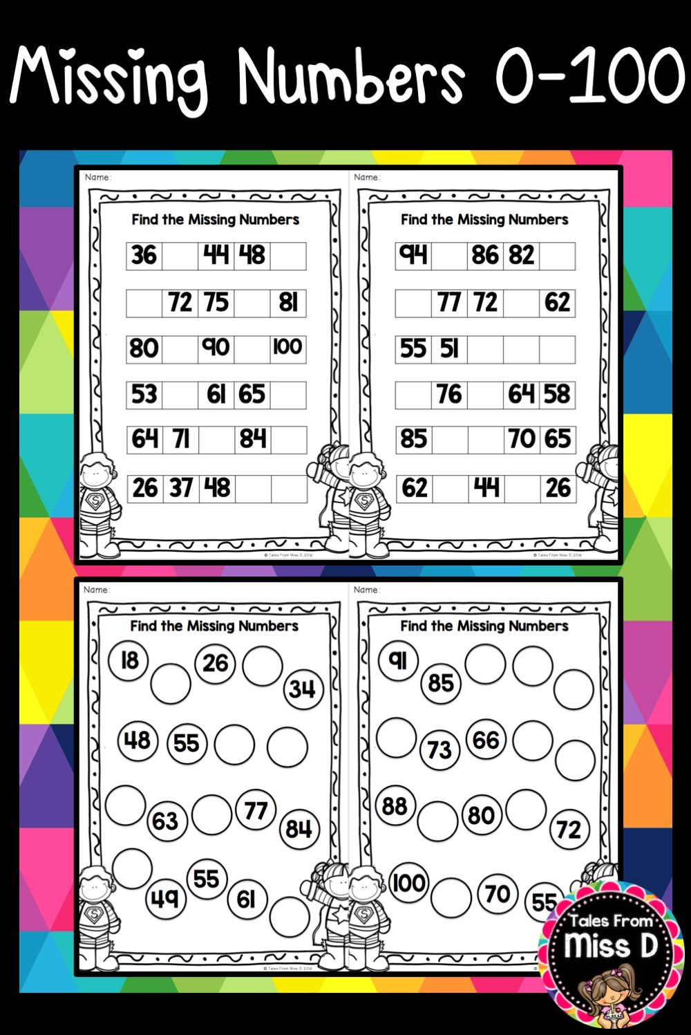 Help Develop Number Sense With These Missing Number Worksheets Numbers Range From Numbers Lowest To Missing Number Worksheets Number Worksheets Learning Math