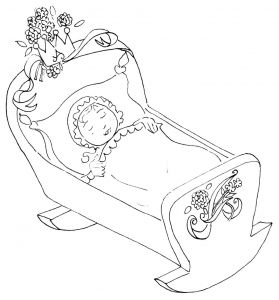 Baby In A Cradle Coloring Page Baby Coloring Pages Hello Kitty Colouring Pages Kitty Coloring