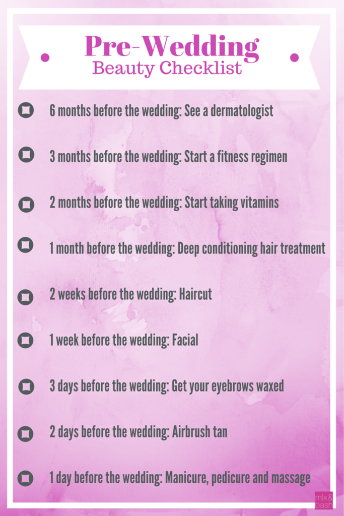 pre wedding beauty checklist mix and bash wedding planning help