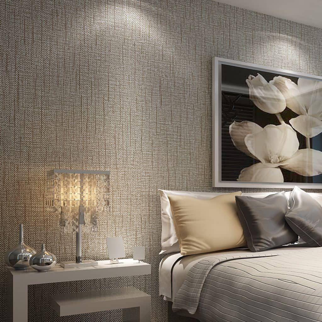 Contemporary Bedroom With Geometric Wallpaper Spring Bedroom Decor Wallpaper Bedroom Wallpaper Design For Bedroom