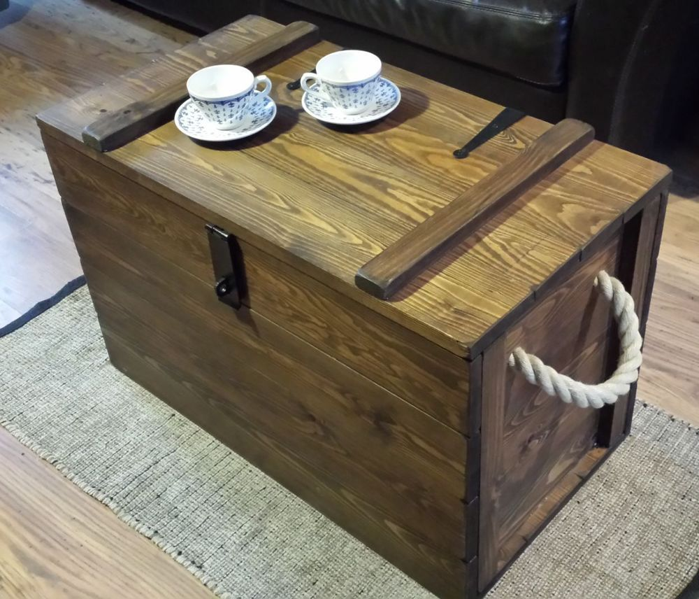 Handcrafted vintage style wooden trunk storage chest blanket box