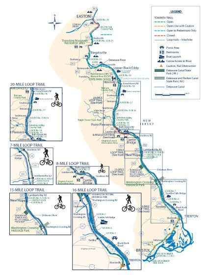 Friends Of The Delaware Canal Open Closed Section Map Bike Trips Bicycle Trail Trail