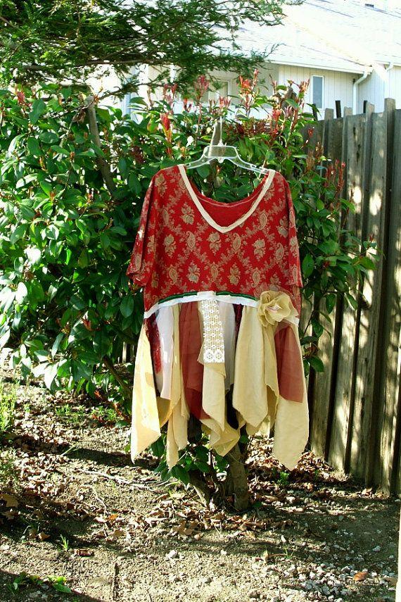 Boho Tattered Dress Gypsy Bohemian Tunic Dress by KheGreen