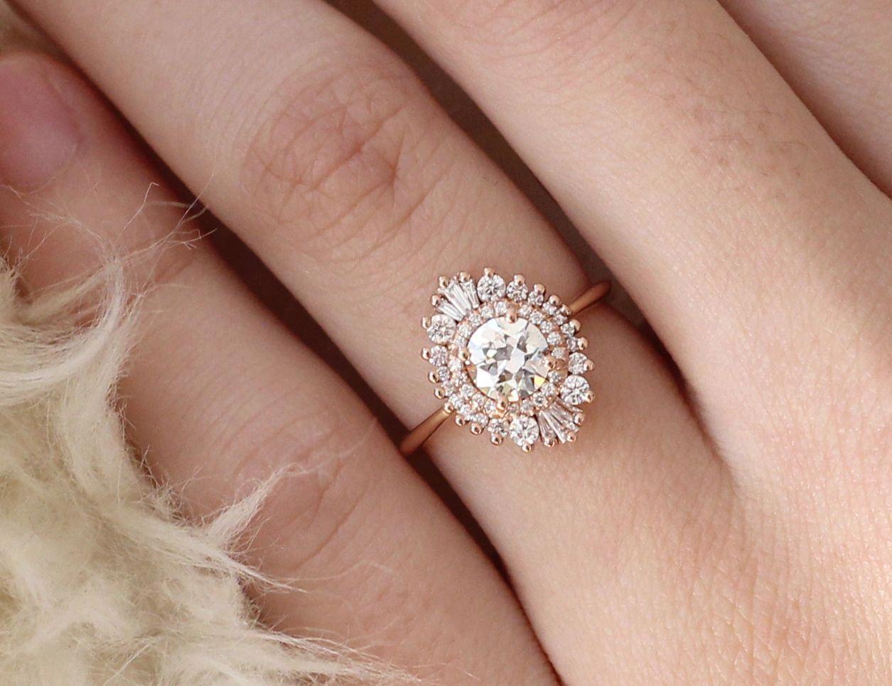 Moonstone engagement ring rose gold Vintage engagement