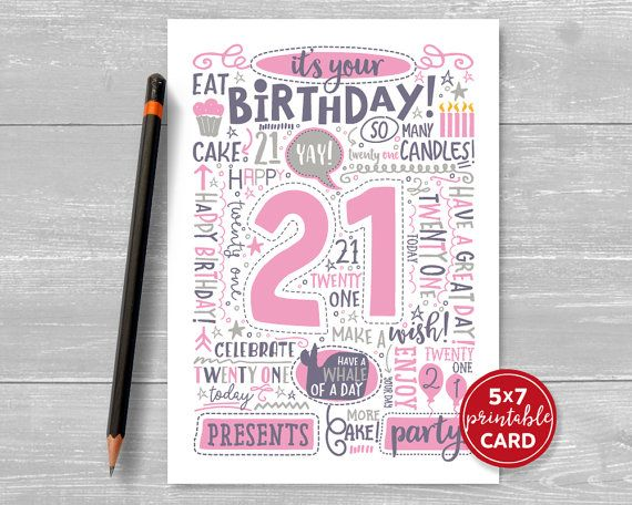 printable 21st birthday cards