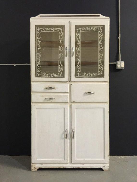 Vintage 1940s tall medicine cabinet glass doors white appliqu vintage 1940s tall medicine cabinet glass doors by boardwalkrev planetlyrics Images