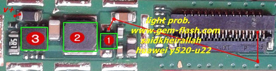 huawei ascend y520 display light solution jumper problem ways, Schematic