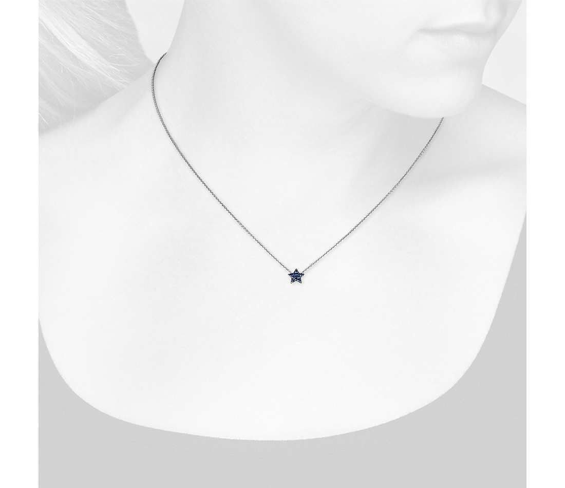 Blue Nile Mini Sapphire Circle Pendant in 14k White Gold (1mm) y9fLsyjA