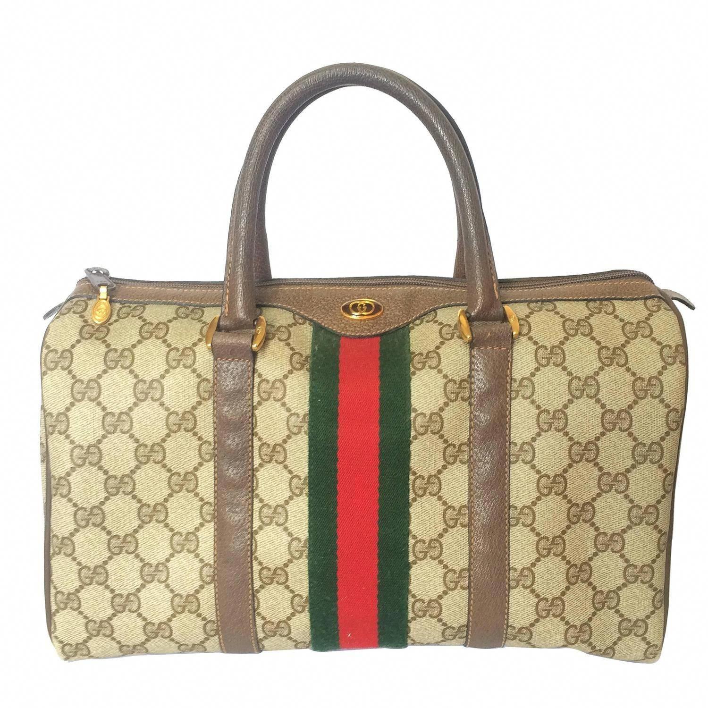 b9a333fb3d9b 80 s vintage Gucci brown monogram webbing sherry line speedy style handbag.   Guccihandbags