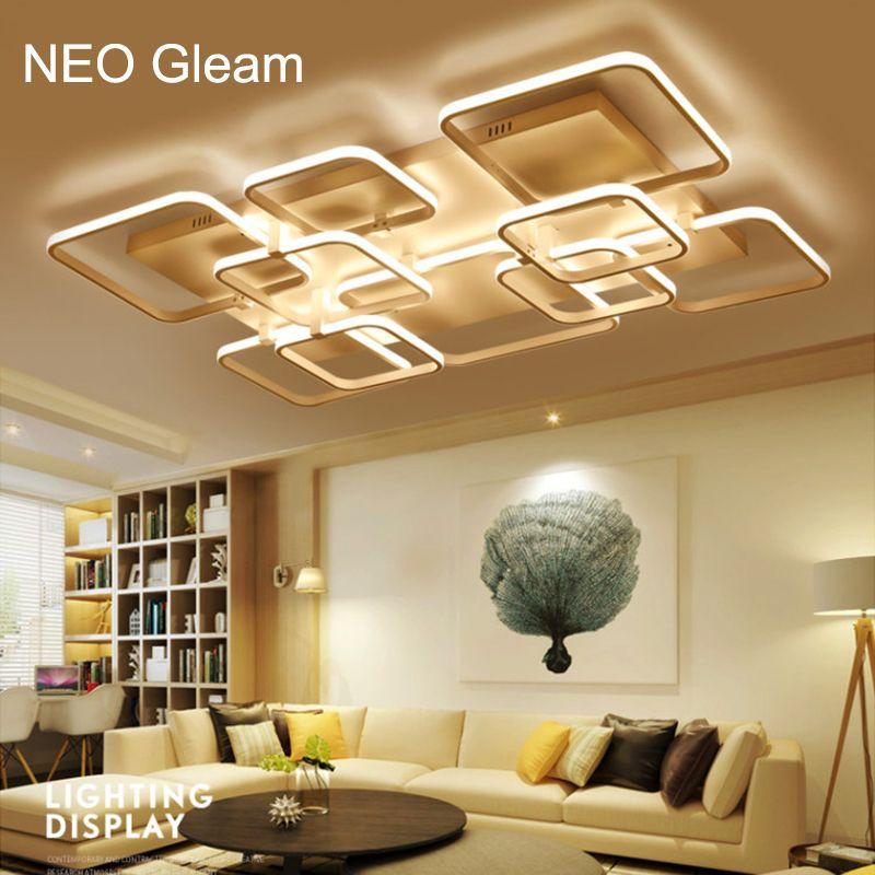 Neo Gleam Modern Led High Brightness Chandelier Lights Lamp For Living Room Bedroom White Aluminum 85 265v Lamps Living Room Ceiling Lights Living Room Bedroom