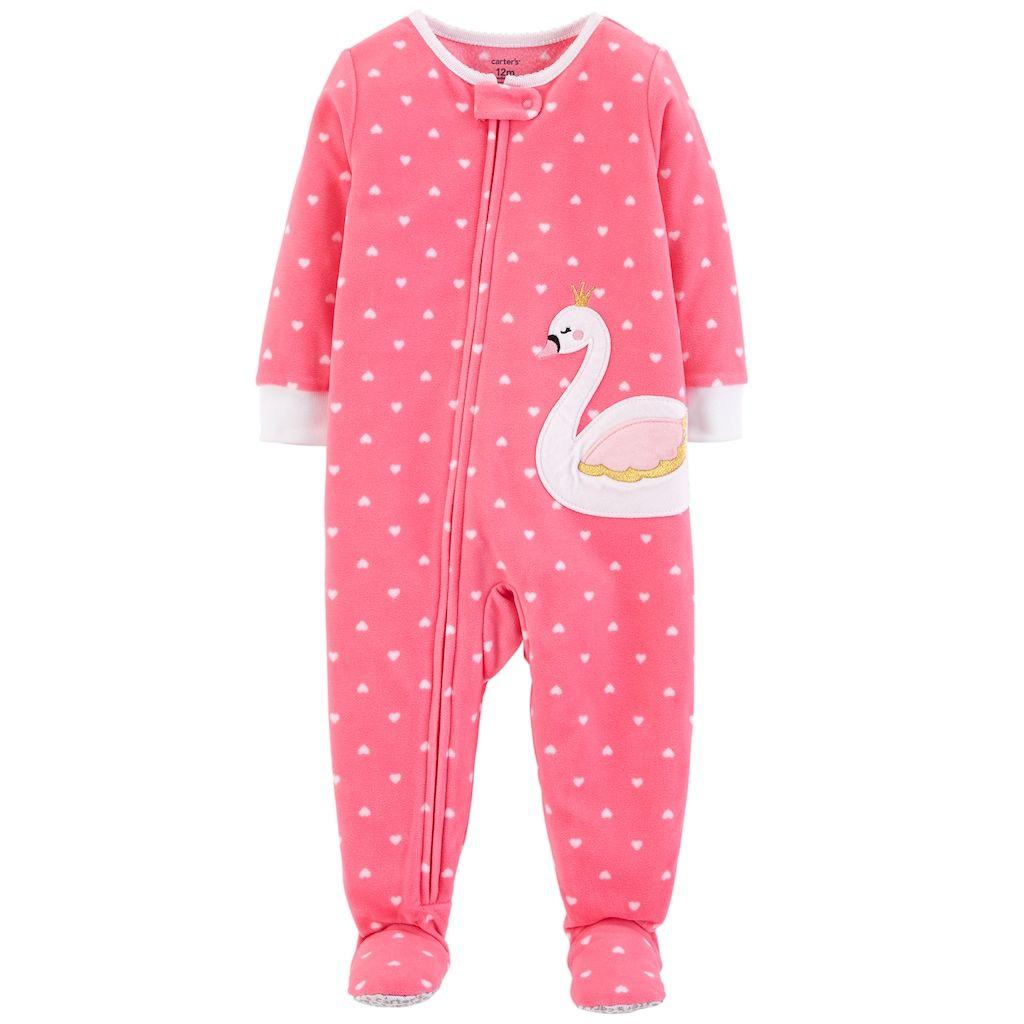 167f3a74a Carter s Toddler Girl Swan Heart-Dot Microfleece Footed Pajamas ...