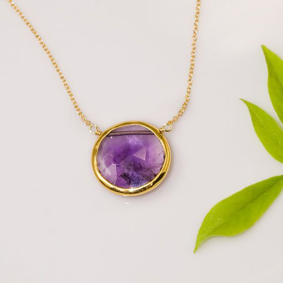 Faceted Round Bezel Set Purple Amethyst Necklace - 14k Gold Filled Chain