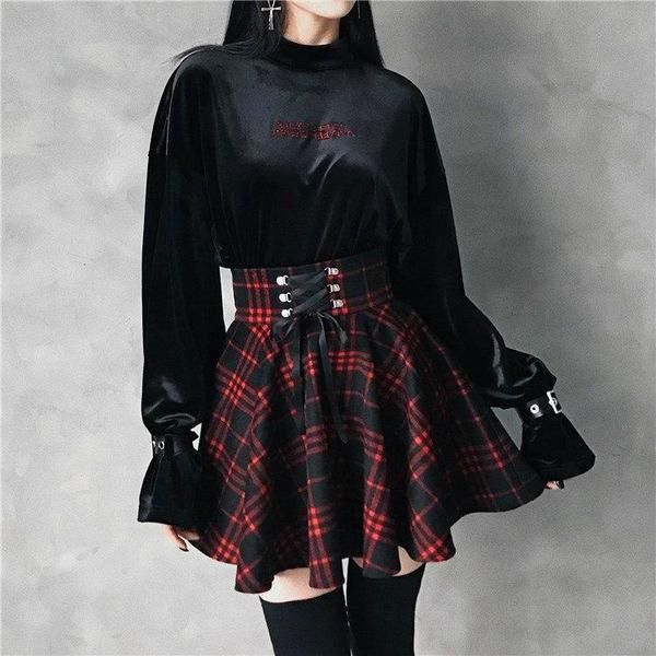 Gothic Harajuku Red Black Lace Up Plaid Skirt in 2019 | my style