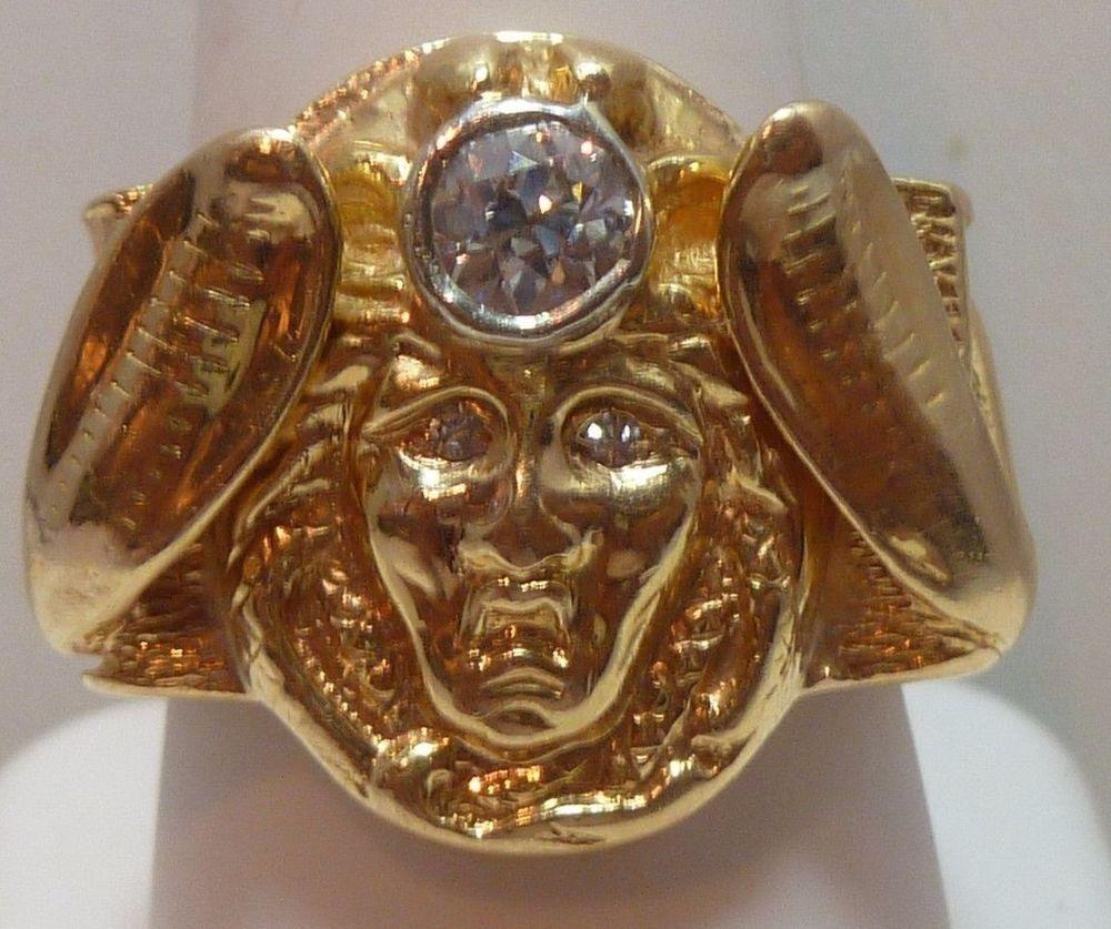 Menus k gold ring versace design medusa king tut cobra diamond eyes