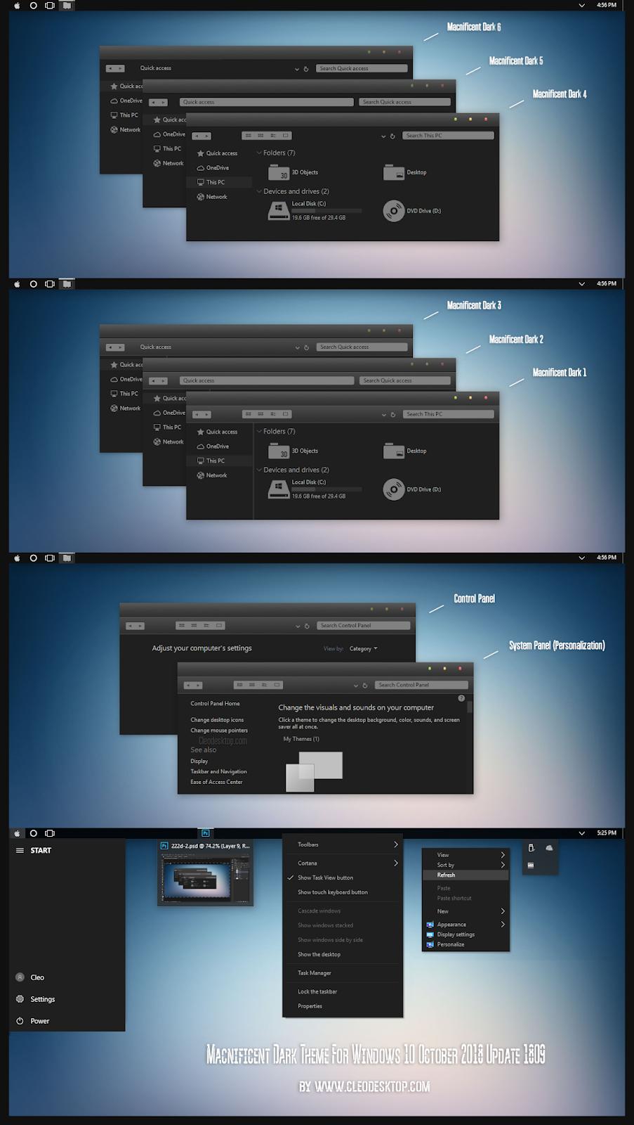 Macnificent Dark Theme Windows 10 October 2018 Update 1809