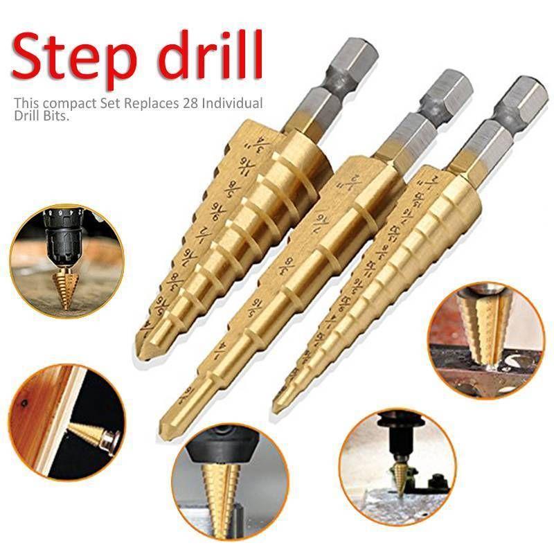"3PC 1//4/"" Shank Step Drill Bit Set Unibit Titanium HSS M2 28 Sizes Reamer 1//8-3//4"