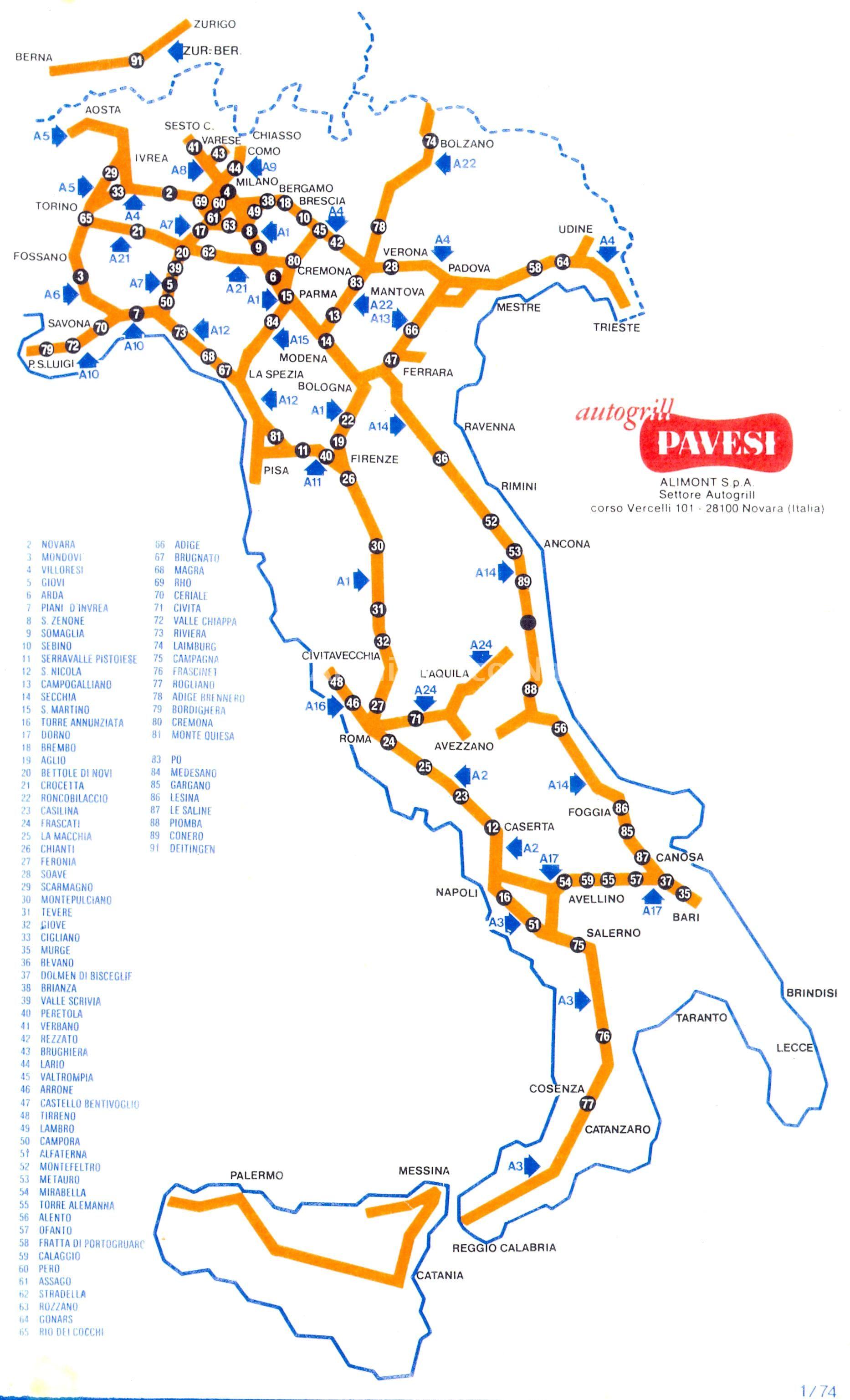 Italia Cartina Autostradale.Cartina Autostradale Che Riporta La Localizzazione Degli Autogrill Pavesi In Italia Nel 1973 Mappa Pavese Ravenna