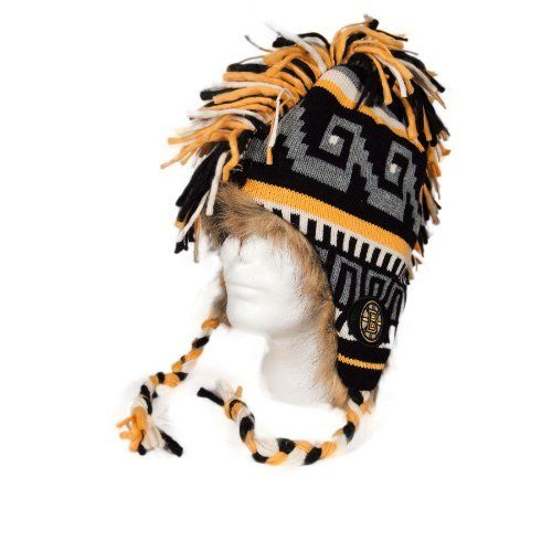 Boston Bruins Youth Hawkling Mohawk Knit Hat Size One Size by Old Time. $39.00. Multi colored tassles. 100% acrylic with fur lining. Embroidered team logo on sides. The Youth Hawkling Mohawk Knit Hat by Olt Time Hockey features: - 100% acrylic with fur lining - Embroidered team logo on sides - Multi colored tassles