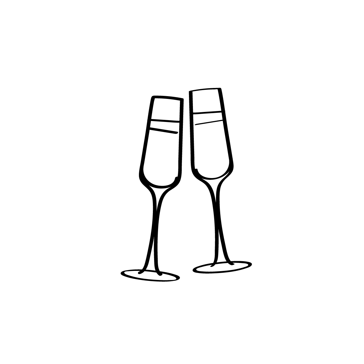 Minimal Hand Drawn Icons Of Two Clinking Champagne Glasses For